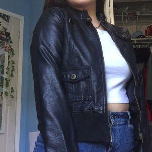 Faux leather aviator jacket